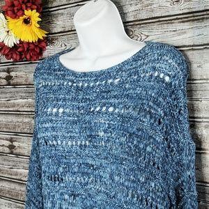 J. Jill Pure Jill | Blue Tonal Open Knit Pullover